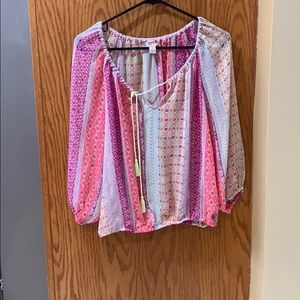 Spring color sheer blouse